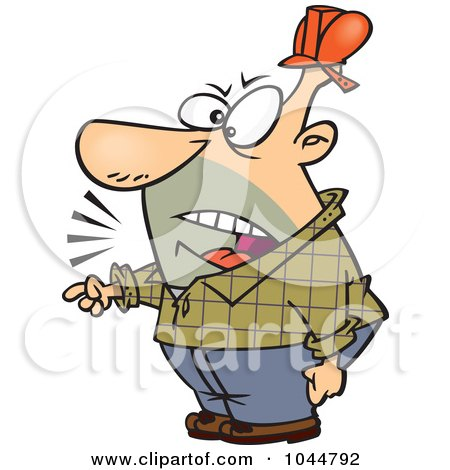 Royalty-Free (RF) Clip Art Illustration of a Cartoon Foreman Yelling And Pointing by toonaday