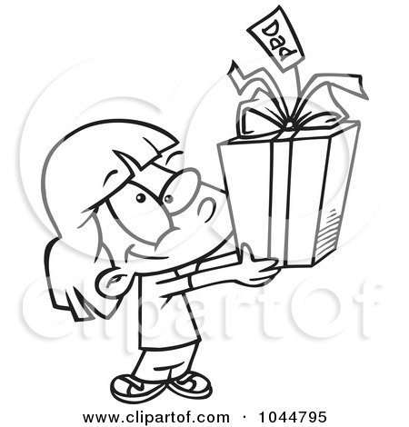 Royalty-Free (RF) Clip Art Illustration of a Cartoon Black And White Outline Design Of A Cute Girl Holding A Fathers Day Gift by toonaday
