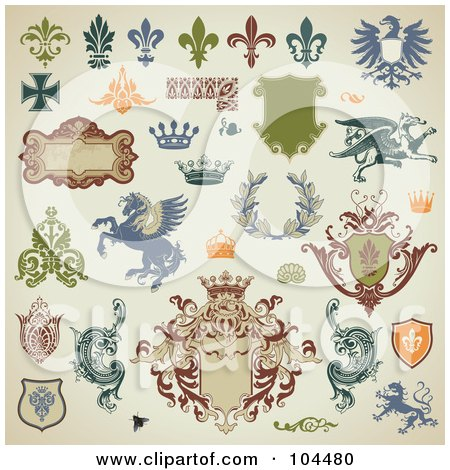 Royalty-Free (RF) Clipart Illustration of a Digital Collage Of Heraldry Design Elements On Beige by Anja Kaiser