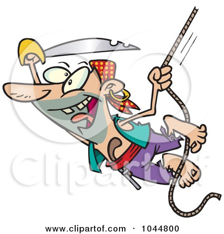 Royalty-Free (RF) Clip Art Illustration of a Cartoon Attacking Pirate Swinging On A Rope by toonaday