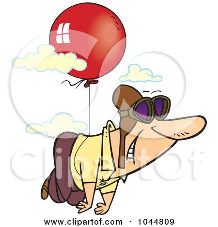 Royalty-Free (RF) Clip Art Illustration of a Cartoon Man Floating Through The Sky With A Balloon by toonaday