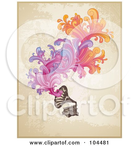Royalty-Free (RF) Clipart Illustration of a Vintage Phonograph With Colorful Swirls Over Grungy Beige by Anja Kaiser