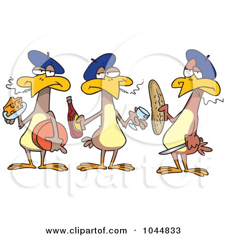 Royalty-Free (RF) Clip Art Illustration of Cartoon Three French Hens by toonaday
