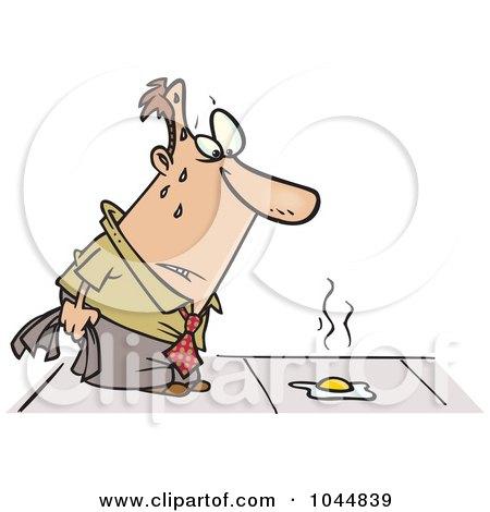 Royalty-Free (RF) Clip Art Illustration of a Cartoon Hot Man Watching An Egg Fry On A Sidewalk by toonaday