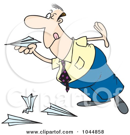 Royalty-Free (RF) Clip Art Illustration of a Cartoon Businessman Playing With Paper Planes by toonaday