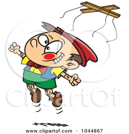 Royalty-Free (RF) Clip Art Illustration of a Cartoon Free Wooden Puppet Boy Jumping by toonaday