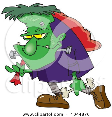 Royalty-Free (RF) Clip Art Illustration of a Cartoon Frankenstein Carrying A Bag And Bone by toonaday