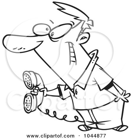 Royalty-Free (RF) Clip Art Illustration of a Cartoon Black And White Outline Design Of A Man Holding Out A Landline Phone by toonaday