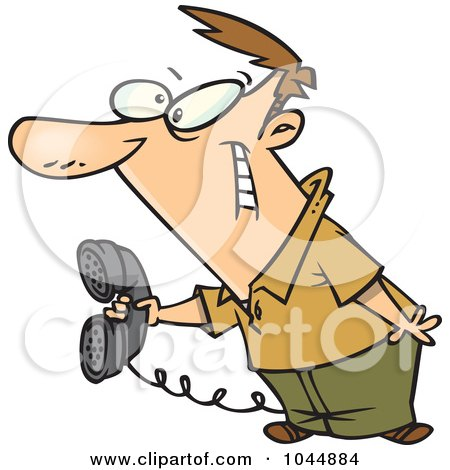 Royalty-Free (RF) Clip Art Illustration of a Cartoon Man Holding Out A Landline Phone by toonaday