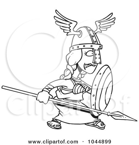 Royalty-Free (RF) Clip Art Illustration of a Cartoon Black And White Outline Design Of The Goddess Freya by toonaday