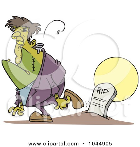 Royalty-Free (RF) Clip Art Illustration of a Cartoon Frankenstein Walking Away From A Grave by toonaday