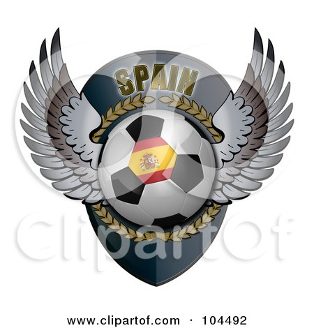 Royalty-Free (RF) Clipart Illustration of a Winged Spain Soccer Ball Crest by stockillustrations