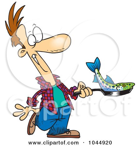 Royalty-Free (RF) Clip Art Illustration of a Cartoon Man Frying A Fish by toonaday