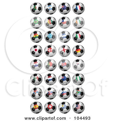 Royalty-Free (RF) Clipart Illustration of a Digital Collage Of 32 2010 Fifa World Cup Soccer Balls by stockillustrations