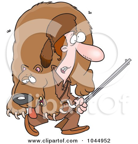 Royalty-Free (RF) Clip Art Illustration of a Cartoon Frontiersman Carrying A Bear by toonaday