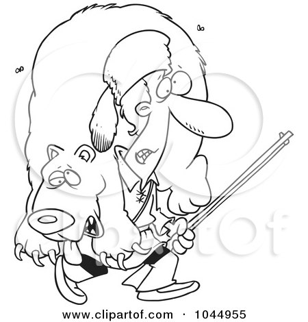 Royalty-Free (RF) Clip Art Illustration of a Cartoon Black And White Outline Design Of A Frontiersman Carrying A Bear by toonaday