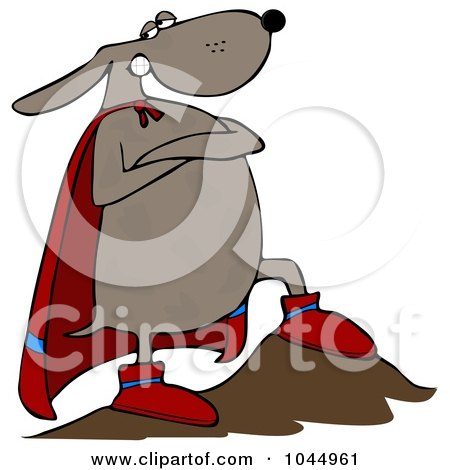 Royalty-Free (RF) Clipart Illustration of a Super Dog Hero With One Leg On A Boulder by djart