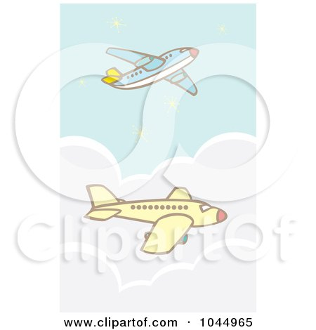 Royalty-Free (RF) Clipart Illustration of Two Commercial Airliners In Flight by xunantunich