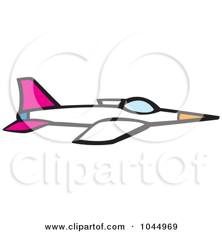 Royalty-Free (RF) Clipart Illustration of a Cartoon Jet by xunantunich