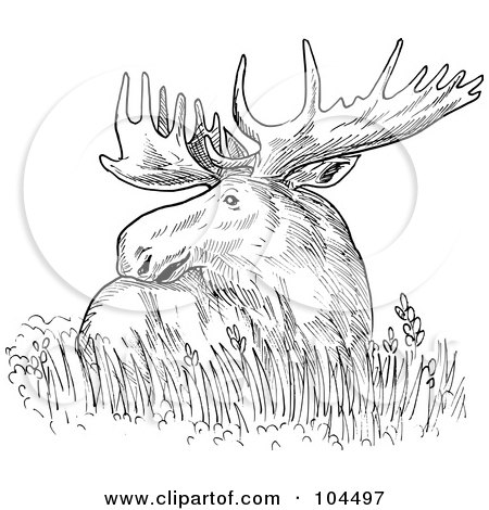 Royalty-Free (RF) Clipart Illustration of a Sketched Moose Resting In Grass by patrimonio