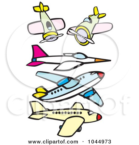 Royalty-Free (RF) Clipart Illustration of a Digital Collage Of Airplanes And A Jet by xunantunich