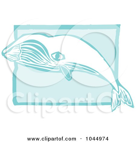 Royalty-Free (RF) Clipart Illustration of a Blue Woodcut Style Design Of A Bowhead Whale by xunantunich
