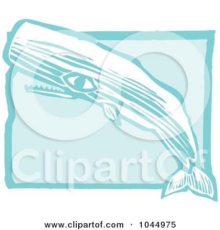 Royalty-Free (RF) Clipart Illustration of a Blue Woodcut Style Design Of A Sperm Whale by xunantunich
