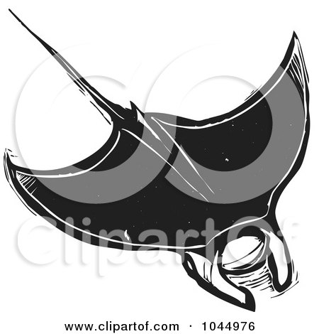 Royalty-Free (RF) Clipart Illustration of a Black And White Woodcut Style Manta Ray by xunantunich