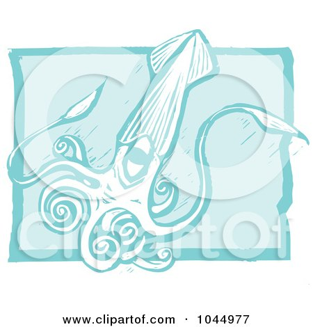Royalty-Free (RF) Clipart Illustration of a Blue Woodcut Style Design Of A Squid by xunantunich