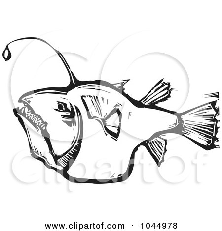 Royalty-Free (RF) Clipart Illustration of a Black And White Woodcut Style Angler Fish by xunantunich