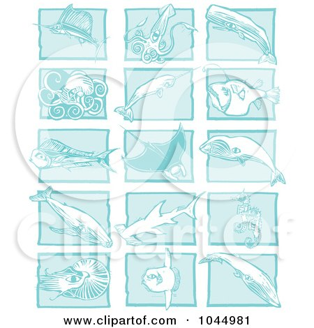 Royalty-Free (RF) Clipart Illustration of a Digital Collage Of Blue Woodcut Style Designs Of Sea Life by xunantunich