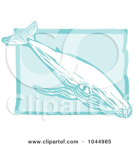 Royalty-Free (RF) Clipart Illustration of a Blue Woodcut Style Design Of A Humpback Whale by xunantunich