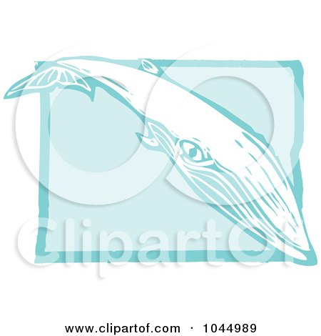 Royalty-Free (RF) Clipart Illustration of a Blue Woodcut Style Design Of A Sei Whale by xunantunich