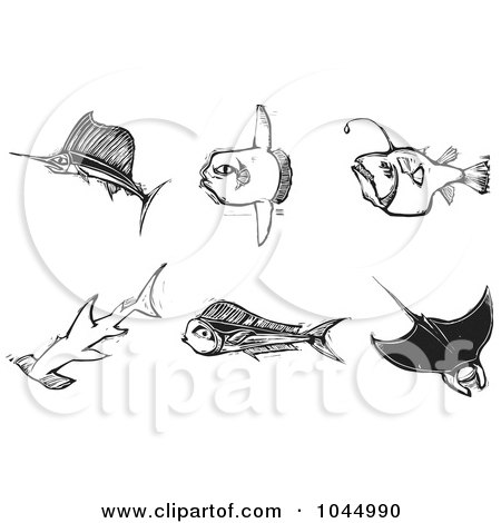 Royalty-Free (RF) Clipart Illustration of a Digital Collage Of Black And White Woodcut Styled Fish by xunantunich