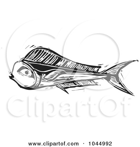 Royalty-Free (RF) Clipart Illustration of a Black And White Woodcut Style Mahi Mahi Fish by xunantunich