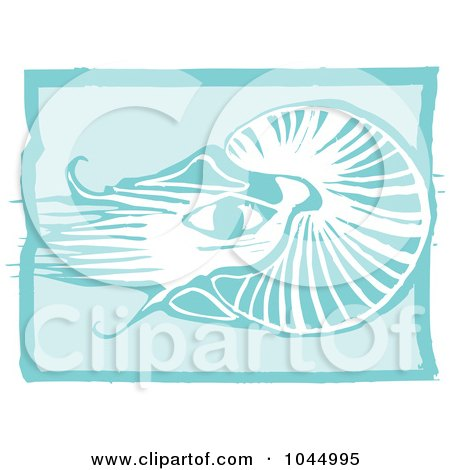Royalty-Free (RF) Clipart Illustration of a Blue Woodcut Style Design Of A Nautilus by xunantunich