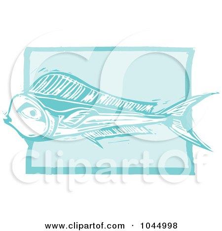Royalty-Free (RF) Clipart Illustration of a Blue Woodcut Style Design Of A Mahi Mahi Fish by xunantunich