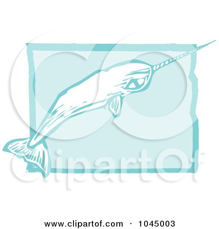Royalty-Free (RF) Clipart Illustration of a Blue Woodcut Style Design Of A Narwhal by xunantunich