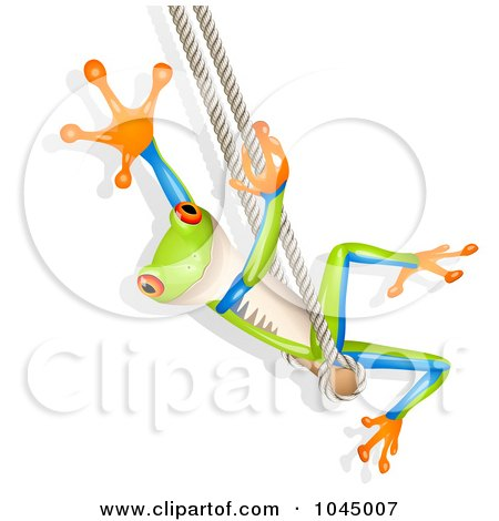 Royalty-Free (RF) Clipart Illustration of a 3d Tree Frog Waving And Swinging by Oligo