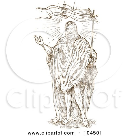 Royalty-Free (RF) Clipart Illustration of a Brown Sketch Of Jesus Christ With A Flag by patrimonio