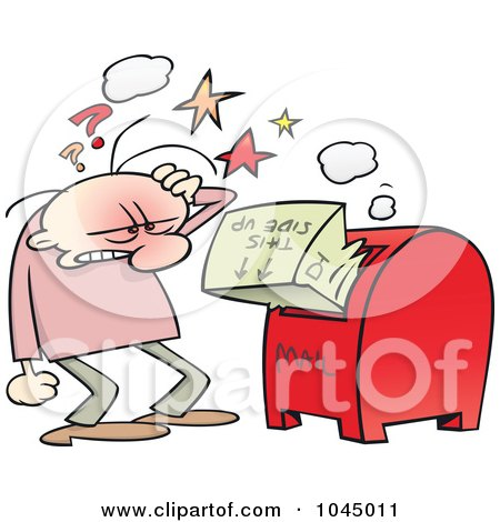 Royalty-Free (RF) Clip Art Illustration of a Frustrated Toon Guy Inserting A Package The Wrong Way by gnurf