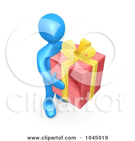 Royalty-Free (RF) Clip Art Illustration of a 3d Rendered Blue Person Holding A Gift by 3poD