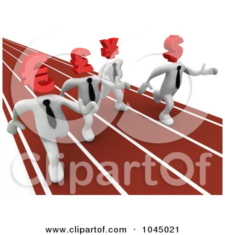 Royalty-Free (RF) Clip Art Illustration of 3d Rendered White Currency People Racing On A Track by 3poD