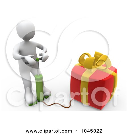 Royalty-Free (RF) Clip Art Illustration of a 3d Rendered White Person Blowing Up A Gift by 3poD
