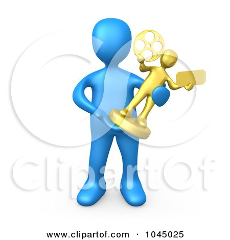 Royalty-Free (RF) Clip Art Illustration of a 3d Rendered Blue Person Holding A Trophy by 3poD