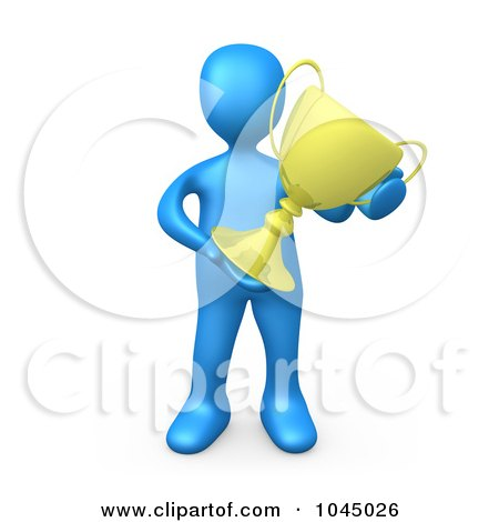 Royalty-Free (RF) Clip Art Illustration of a 3d Rendered Blue Person Holding A Trophy Cup by 3poD