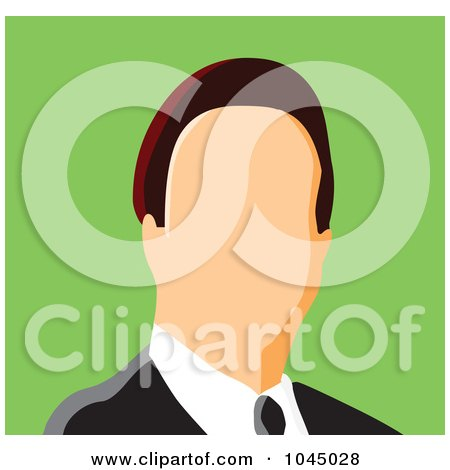 Royalty-Free (RF) Clip Art Illustration of a Faceless Businessman Avatar - 1 by yayayoyo
