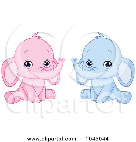 Royalty-Free (RF) Clip Art Illustration of a Digital Collage Of Cute Pink And Blue Baby Elephants by yayayoyo