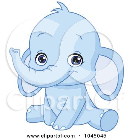 Royalty-Free (RF) Clip Art Illustration of a Cute Bue Baby Elephant by yayayoyo