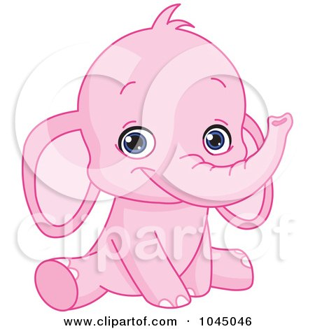 Royalty-Free (RF) Clip Art Illustration of a Cute Pink Baby Elephant by yayayoyo